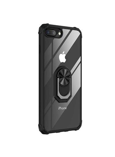 Microsonic Apple iPhone 7 Plus Kılıf Grande Clear Ring Holder Siyah